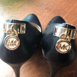 Michael Kors Heels Leather Platform Gold Locks